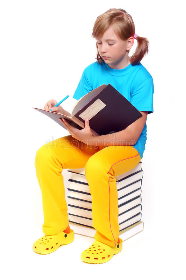 Girl with opened book