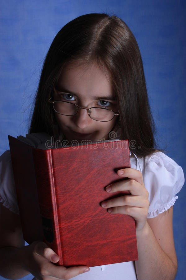 Download Girl with opened red book stock image. Image of black - 10432687