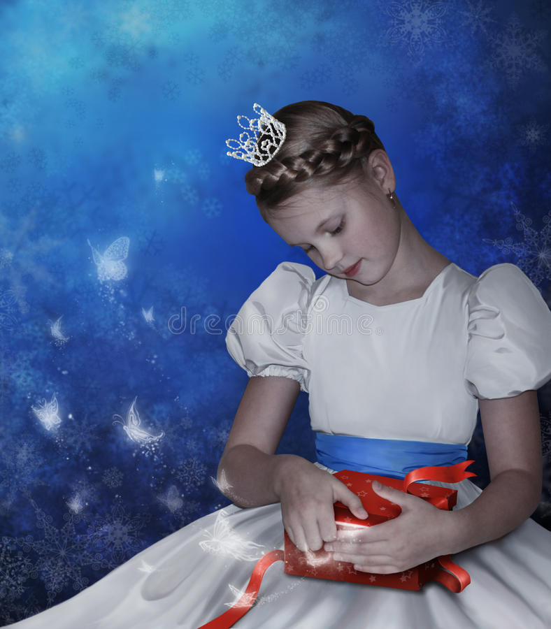 Girl opens a box with gift royalty free illustration