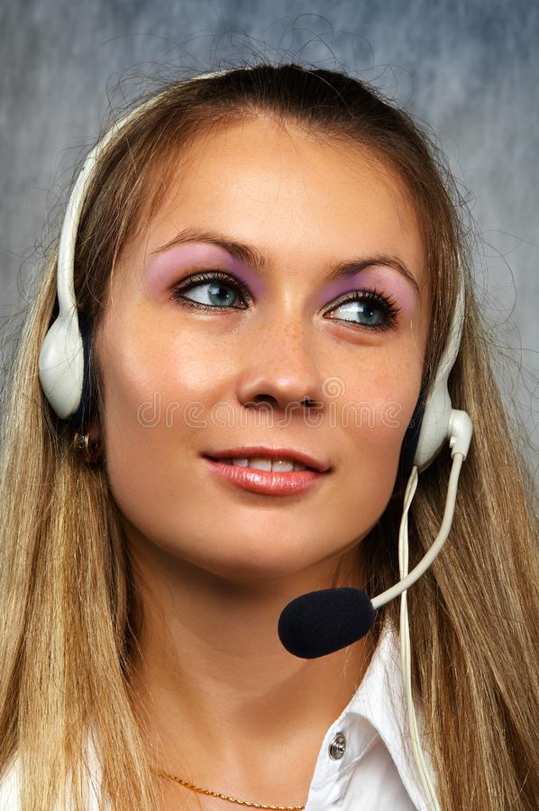 The girl the operator royalty free stock photography