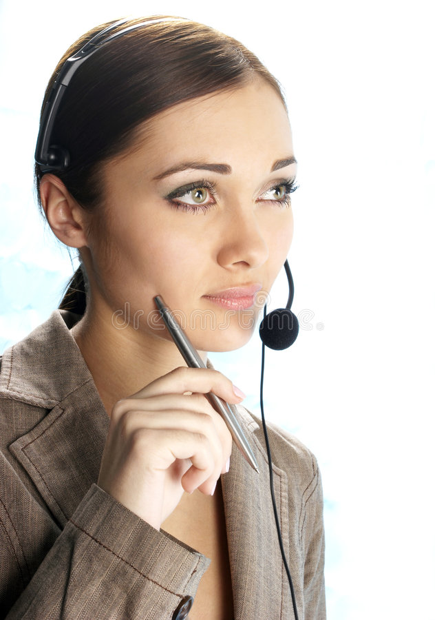 Girl the operator stock images