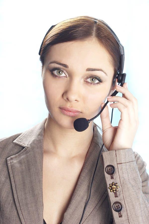 Girl operator royalty free stock photo