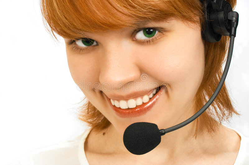 Girl operator royalty free stock images