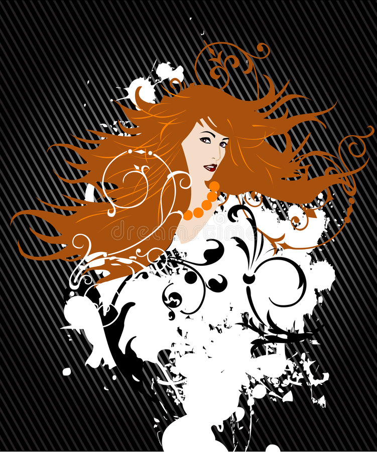 Girl_with_orahge_hair stock illustration