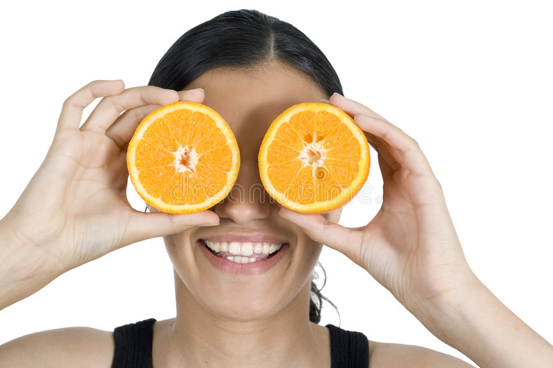 Girl and orange stock images