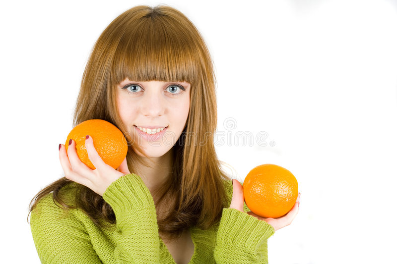 Download Girl with orange stock photo. Image of happy, hair, beautiful - 7946816