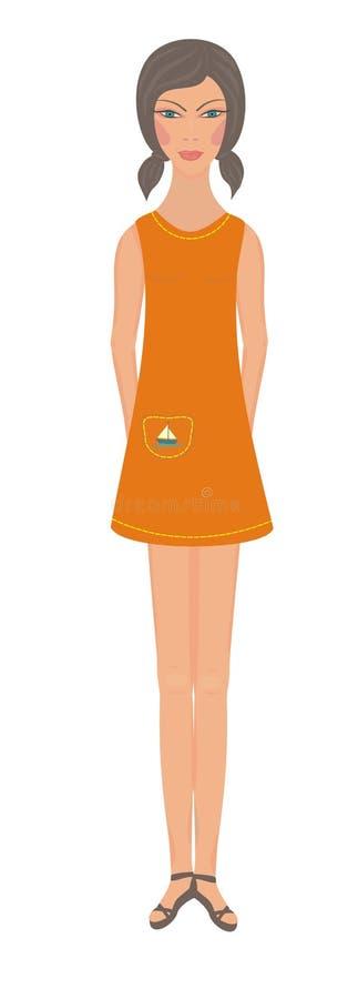 Girl in orange dress royalty free stock image