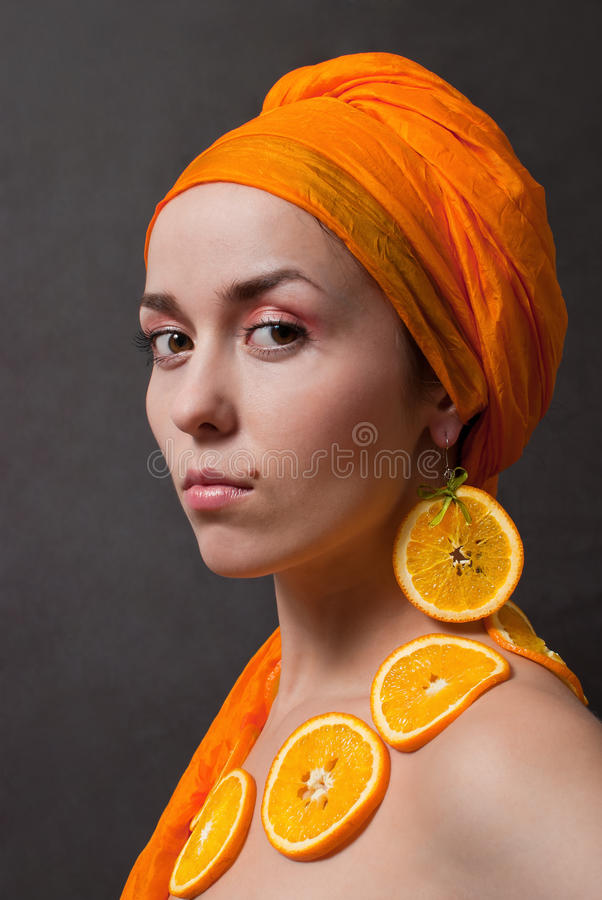 Download Girl with orange headscarf stock image. Image of people - 18321611