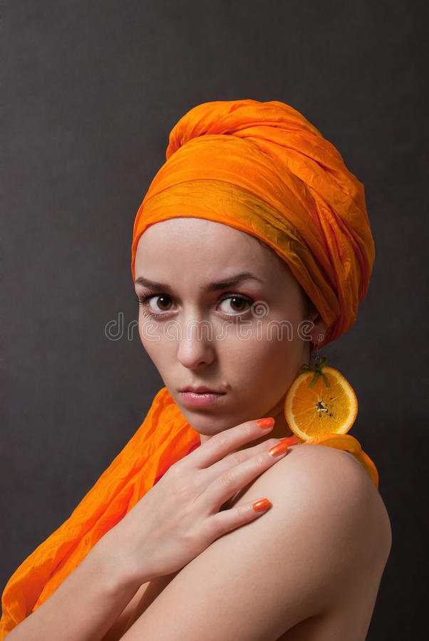 Download Girl with orange headscarf stock image. Image of portrait - 18419567