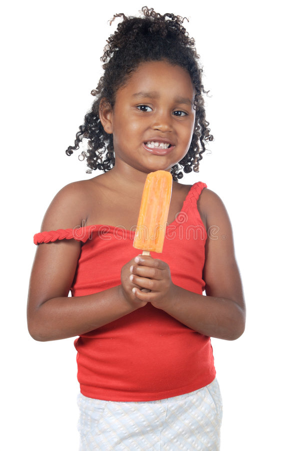 Download Girl With An Orange Ice Cream Stock Photo - Image: 3803778