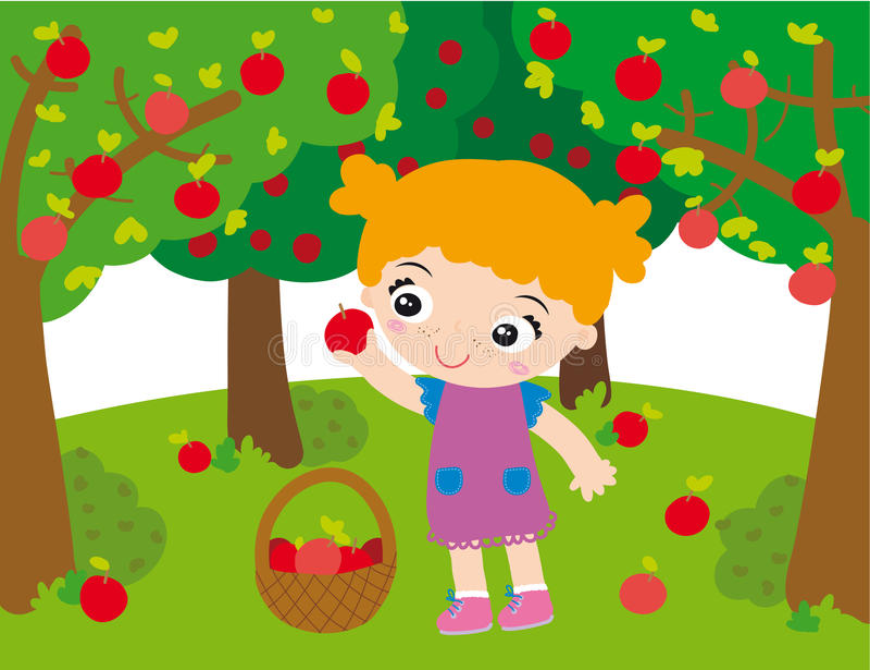 Girl in orchard stock illustration