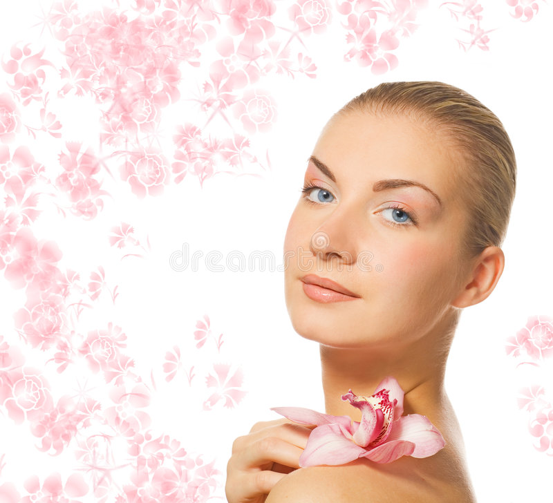Download Girl with orchid flower stock image. Image of nature, aroma - 3841215