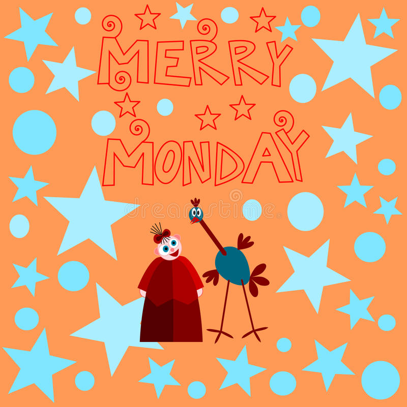 Girl with ostrich under inscription merry monday with polka dots and stars stock illustration