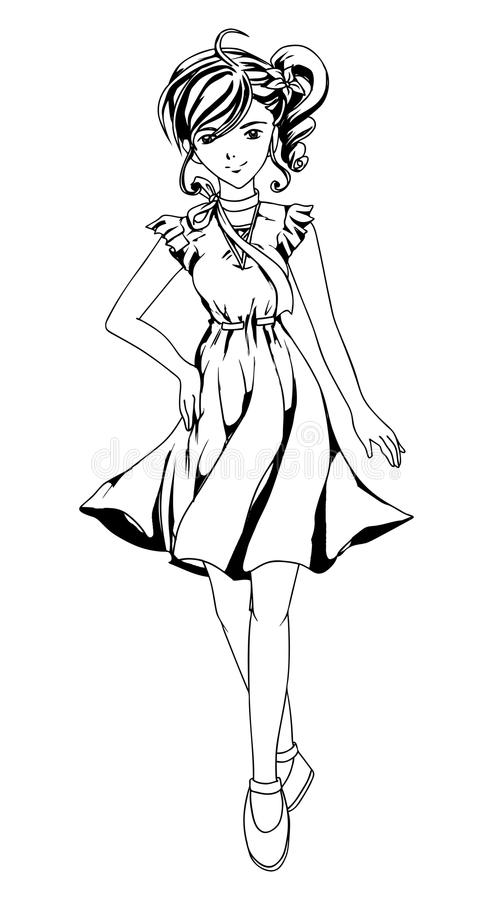 Download Girl Outlined stock vector. Image of manga, fashion, hair - 23011149
