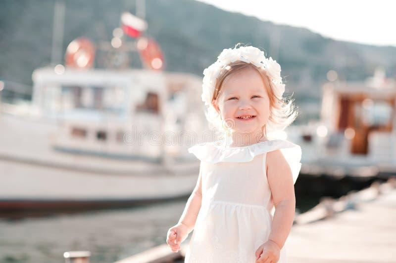 Girl over sea background stock photo