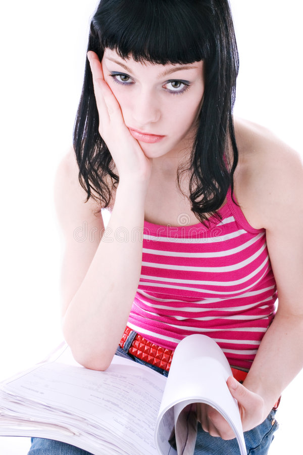 Download Girl Overwhelmed With Studying Stock Image - Image of book, lessons: 2521791