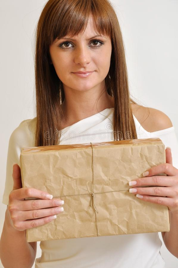 Download Girl with a package stock image. Image of holding, gift - 20244701