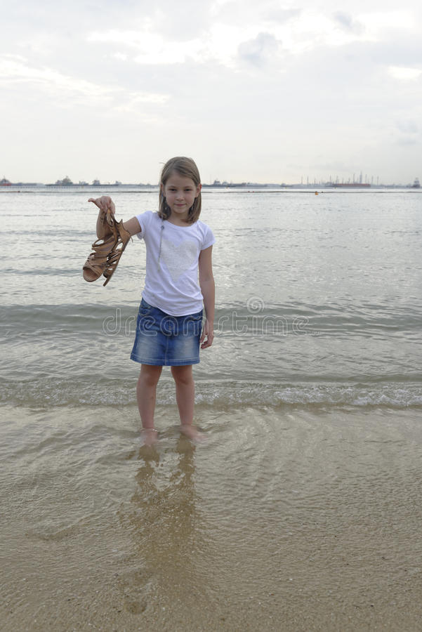 Free Girl Paddling In The Sea Royalty Free Stock Images - 42361179