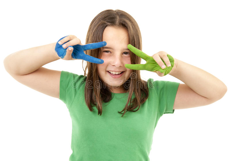 Download Girl with paint on hands stock image. Image of intelligent - 15938399