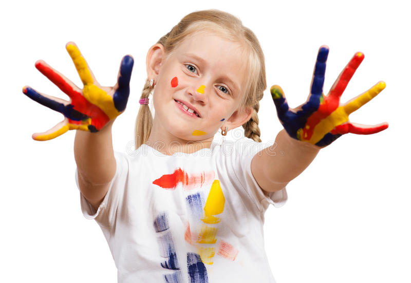 Download Girl with painted hands stock photo. Image of childcare - 27784626