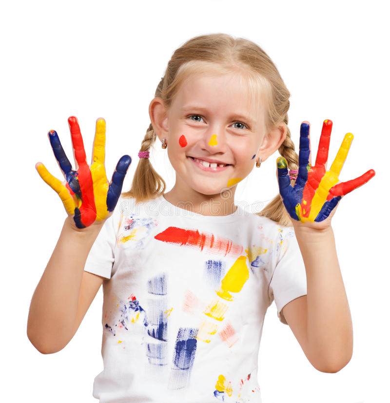 Download Girl with painted hands stock image. Image of child, girl - 27784651
