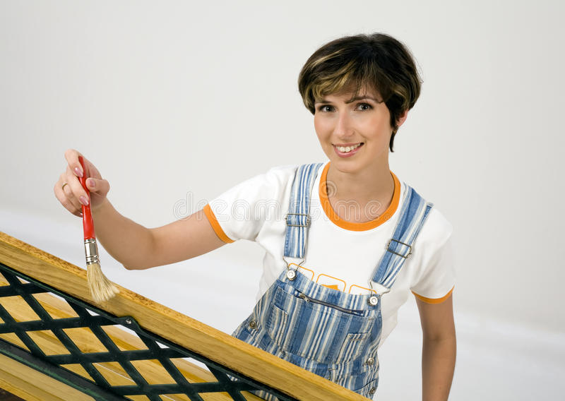 The girl-painter. royalty free stock photography
