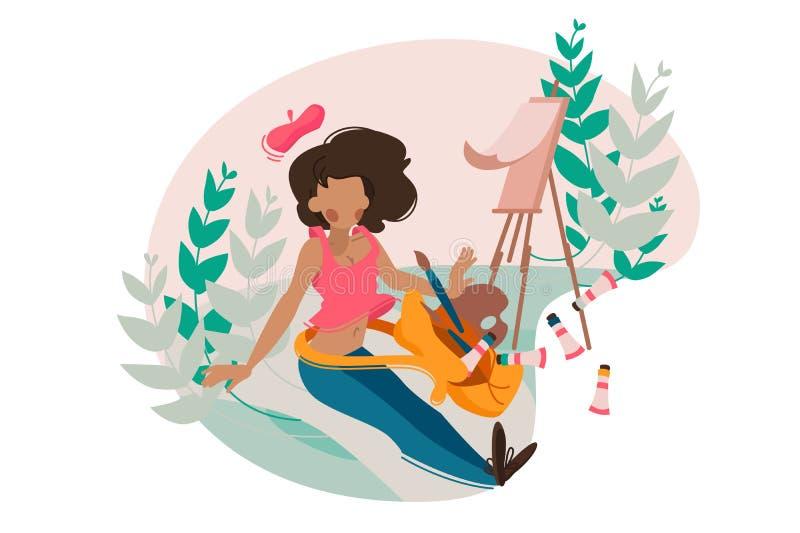 Girl painter paints tassel on easel vector illustration