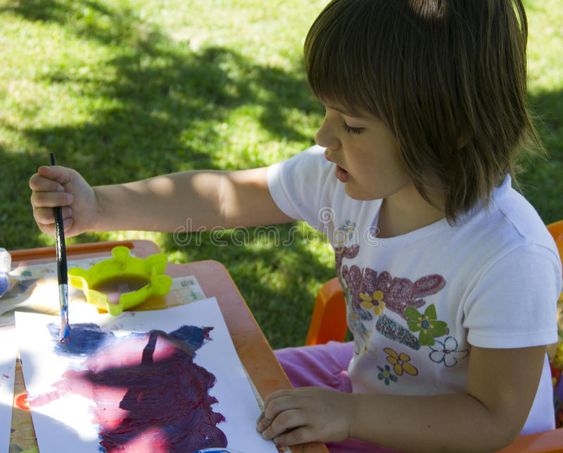 Download Girl painting stock image. Image of paper, little, chairs - 14592893