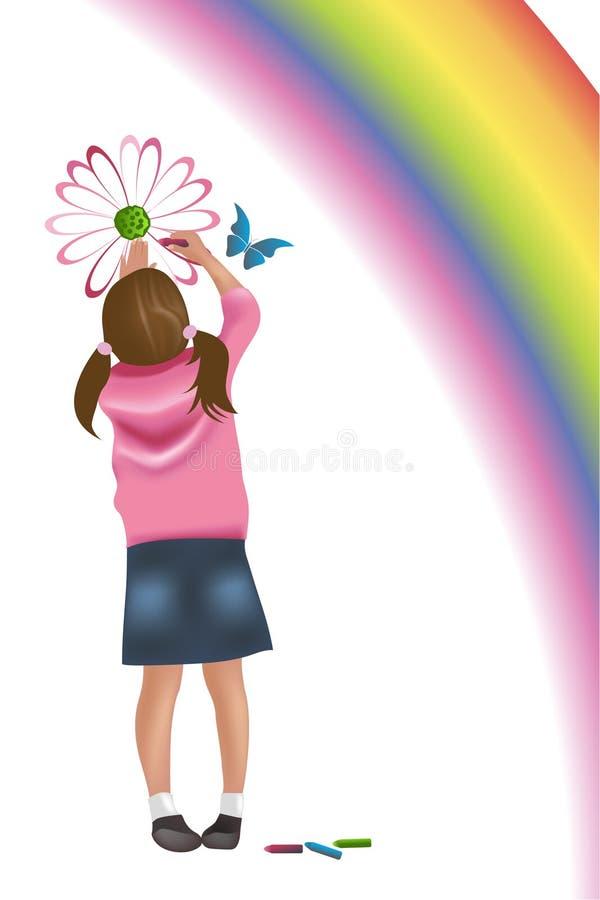 Girl painting vector illustration