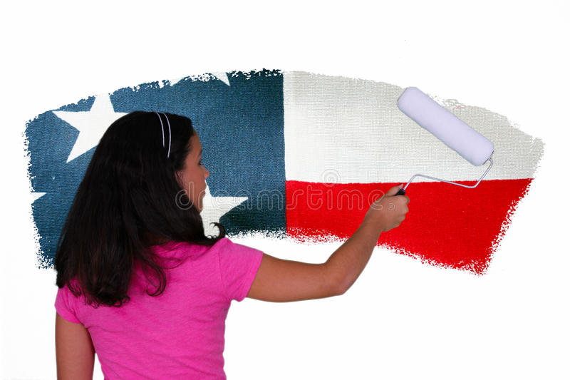 Girl Painting Flag stock photos