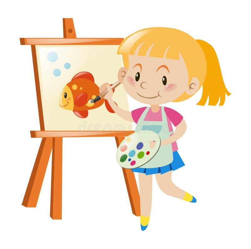 Girl painting goldfish on canvas stock illustration