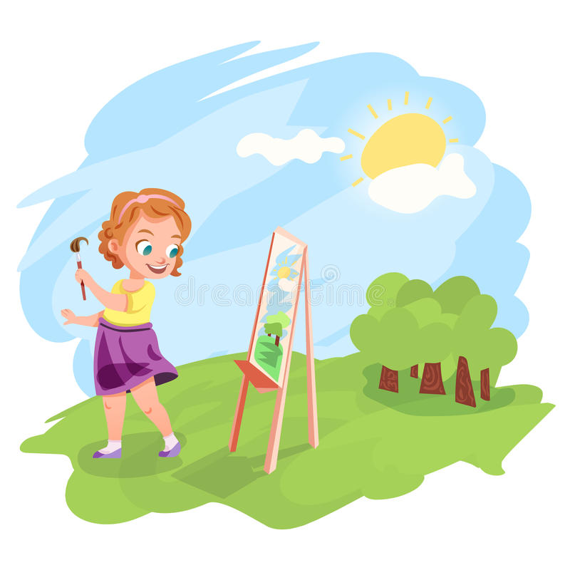 Girl painting outdoors illustration royalty free illustration