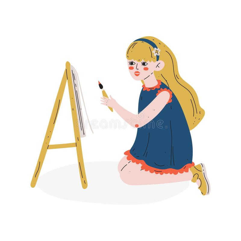 Girl Painting Picture on Easel, Hobby, Education, Creative Child Development Vector Illustration royalty free illustration