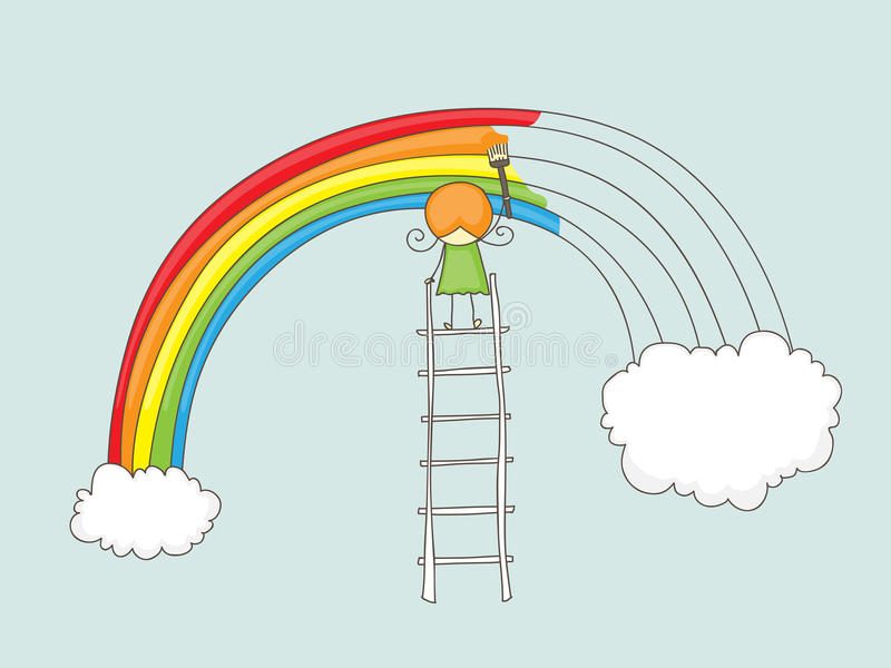 Download Girl painting rainbow stock vector. Illustration of small - 41439195