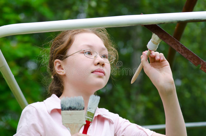 Download Girl paints stock photo. Image of girl, green, frame - 20291742