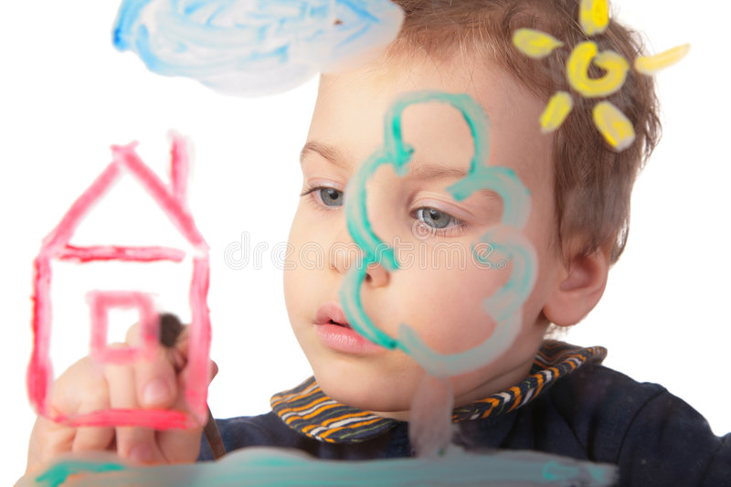 Girl paints house on glass. On white stock images