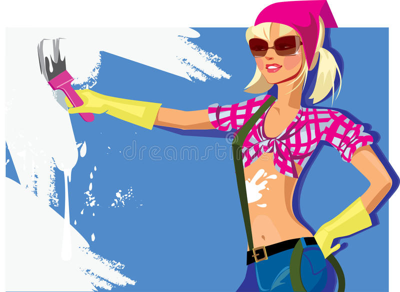 Download Girl paints the wall stock vector. Image of brush, repair - 27703159