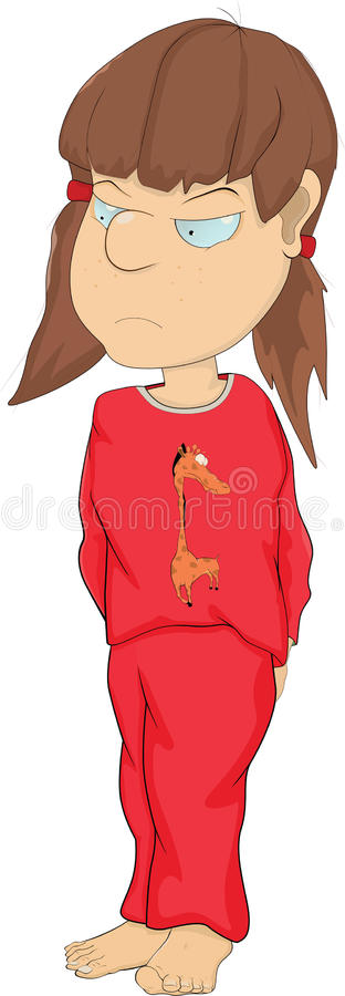 Download The Girl In A Pajamas. Cartoon Stock Vector - Image: 20548817