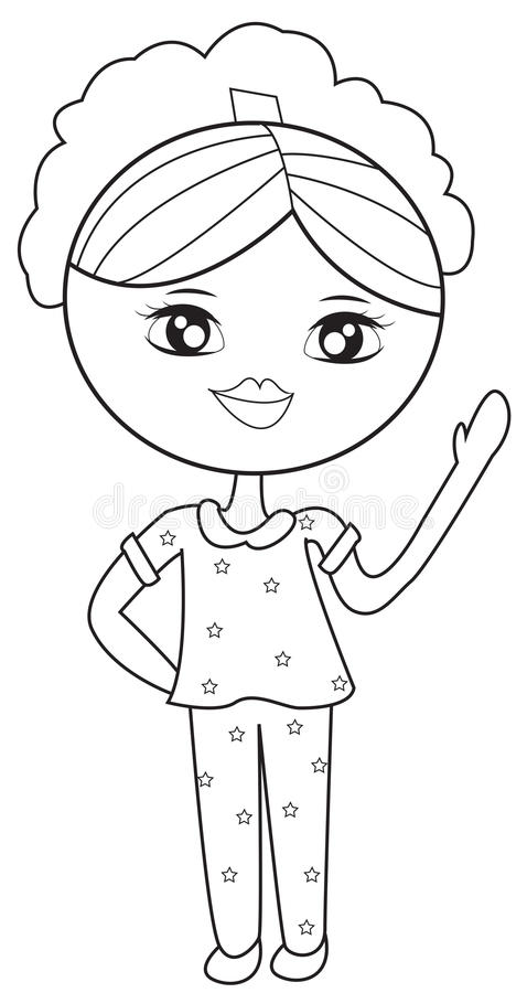 Girl In Pajamas Coloring Page Stock Illustration - Illustration of ...