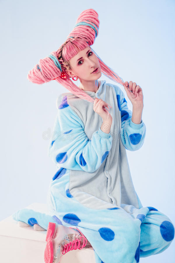 Girl in pajamas royalty free stock photos
