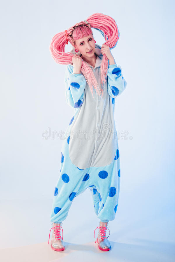 Girl in pajamas royalty free stock image