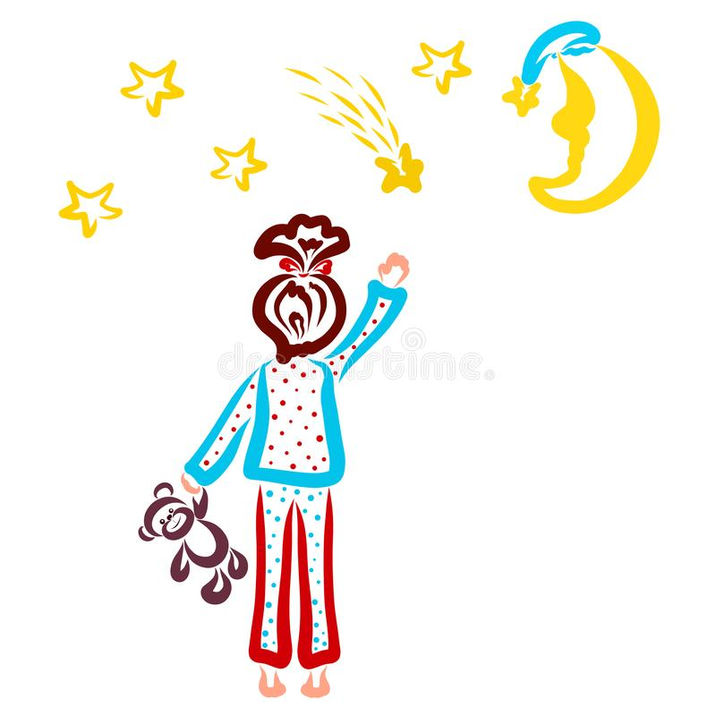 Girl in pajamas makes wishes, stars and crescent stock illustration