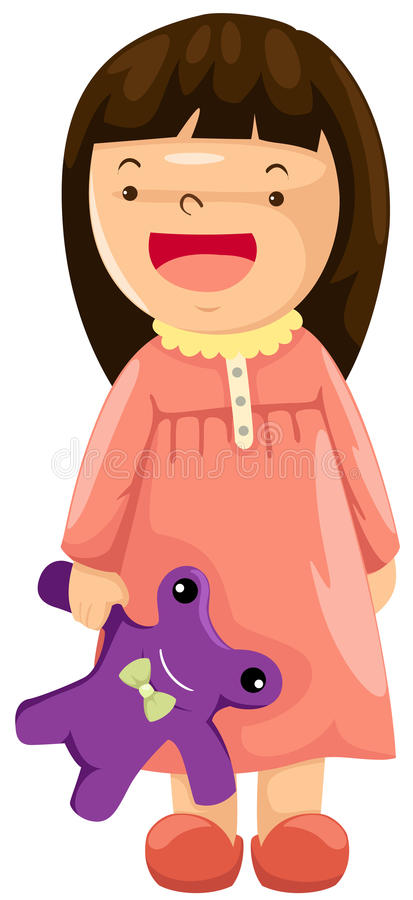 Girl In Pajamas With Toy Stock Photo