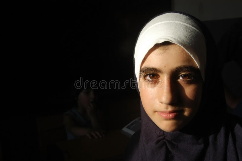A Girl in Palestinian Camp stock images