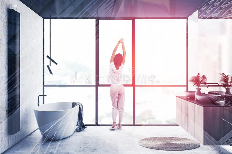 Girl in panoramic bathroom in morning vector illustration