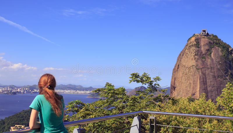 Girl at Pao de Acucar royalty free stock images