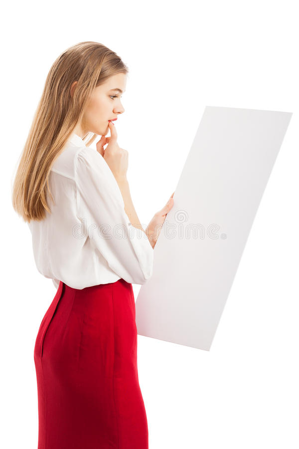 The girl with the paper royalty free stock photography