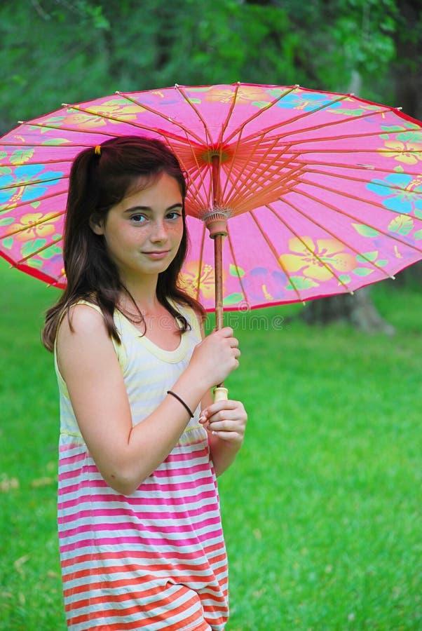 Girl with Parasol stock photos