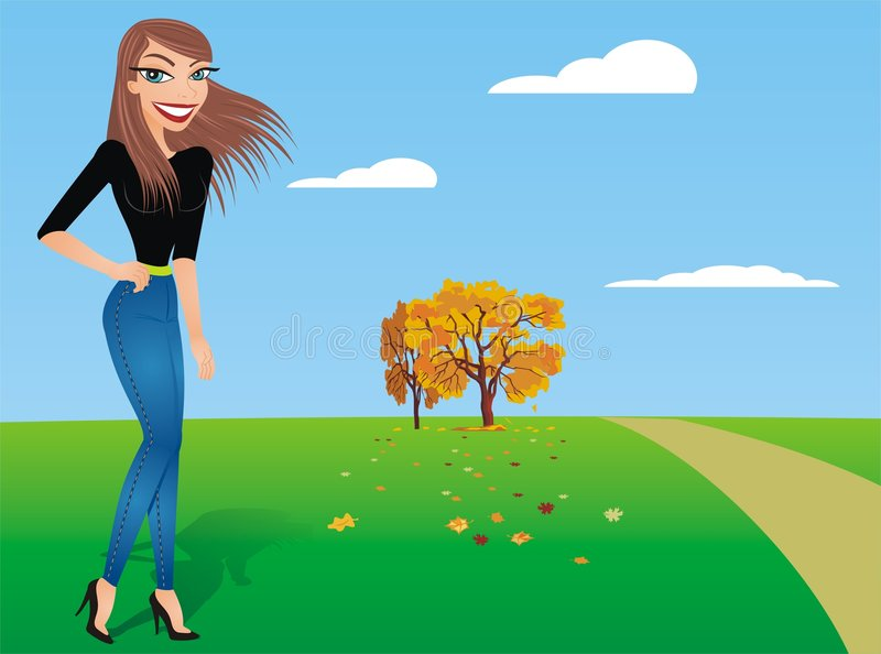 Girl in the Park. A Girl posing in the park vector illustration