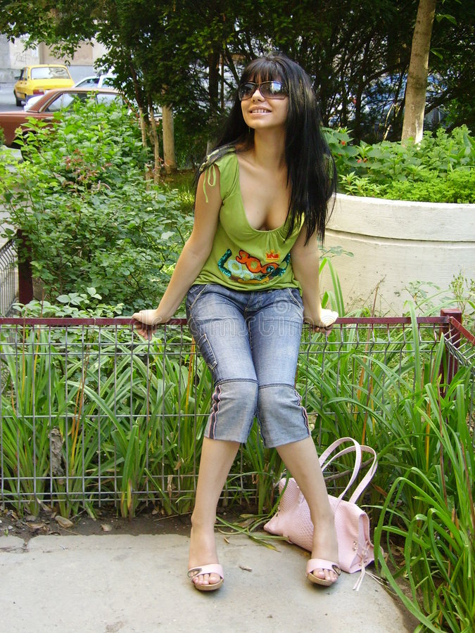 Download Girl in park stock photo. Image of sunglases, plant, demin - 184096
